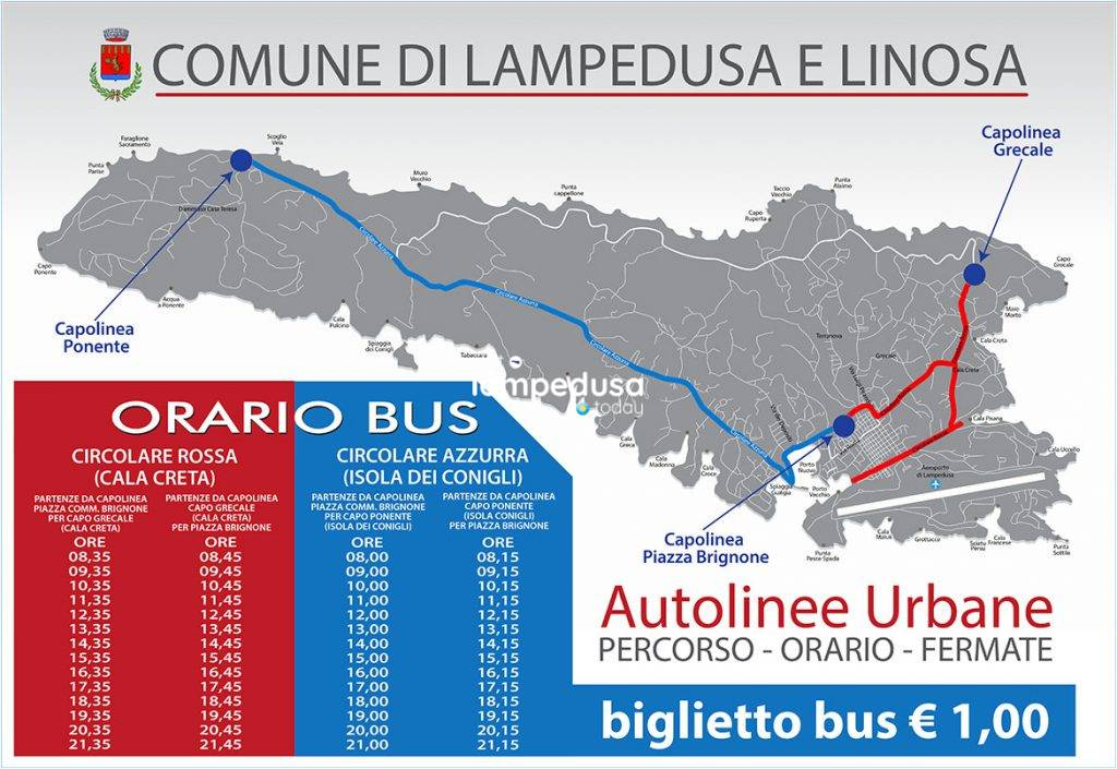 Mappa linee autobus a Lampedusa